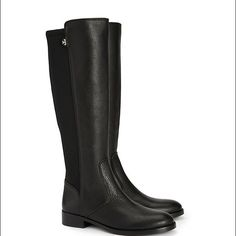 Tory Burch riding boots NEW. Riding boots with fabric in the back. Black color. just tried on. Comes with box Tory Burch Shoes