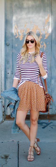 Fall must-have: the polka dot Pleated Chiffon Skirt. Pair it with a striped sweater and denim jacket for the perfect mid-fall weekend look. | Source: http://www.alittledashofdarling.com/2014/09/old-navy-september-running-errands-shaker-stitch-sweater-silk-chiffon-polka-dot-skirt.html