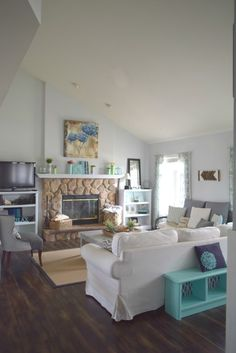 spring living room, Spring home tour with simple ideas, crafts, DIY projects. All with bold colors and a coastal/rustic look to the home.