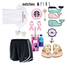 """""""lazy day outfit preppy style outfit 2016_2017"""" by issyfree on Polyvore featuring Vineyard Vines, NIKE, Jack Rogers, Lilly Pulitzer, Mikimoto, Bling Jewelry, Chicnova Fashion, Tyler & Tyler and patchesandpins"""