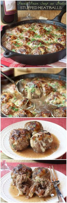 """French Onion Soup au Gratin Stuffed Meatballs - caramelized onions and gooey cheese stuffed into meatballs for a true """"man meal""""   cupcakesandkalechips.com   #beef #glutenfree"""
