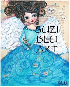 Suzi Blu Folk Art Angel Mixed Media Print van SuziBlu op Etsy, $20.00