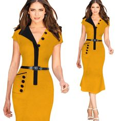 V-neck Mermaid Belt Slim Splicing OL Office Dress
