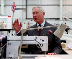 Prince Charles tries his hand at using a sewing machine on visit ...
