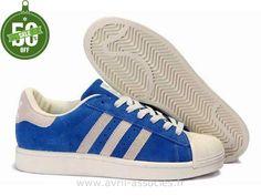 Officiel Chaussures En Cuir Femmes Adidas Superstar II Bleu Blanc (Chaussure Adidas La Trainer Pas Cher)