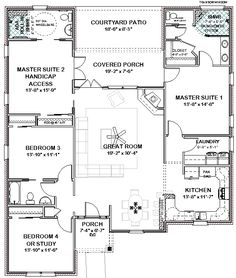 6595f2af1eb9590bdae1d140c595a3b1 dual master bedroom house plans double master floor plan plan 8423jh handicapped accessible southern house plans,Two Master Suite House Plans