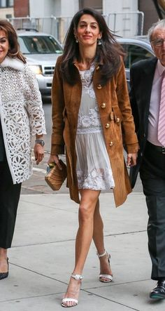 Human rights lawyer Amal Alamuddin and her parents arrive at the Public Theater to see 'Hamilton' in New York City, New York on May 1, 2015. Amal is enjoying some family time while her husband George Clooney films his new movie 'Money Monster' in NYC.