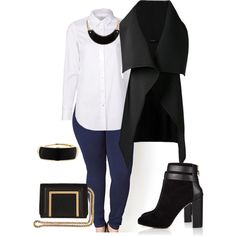 A fashion look from January 2015 featuring white long sleeve top, sleeveless waistcoat and plus size super skinny jeans. Browse and shop related looks.
