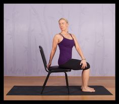 5. Seated Spinal Twist How it helps: Helps relieve sciatic pain; stimulates internal organs; releases tension around spine. Top Chair Yoga Poses for Seniors - http://spryliving.com/