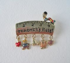 Vintage Early 90s Kitsch Retro Danecraft Gold Tone Teachers Rule Enamel Charm Brooch Pin by ThePaisleyUnicorn, $6.00