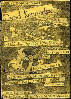 Flyer for Dead Kennedys with Peter and the test tube babies and Millions of Dead Cops (MDC) Brighton Poly November 1982 Dead Kennedys, November 23, Cops, Brighton, Nostalgia, Tube, Ephemera, Movie Posters, Babies