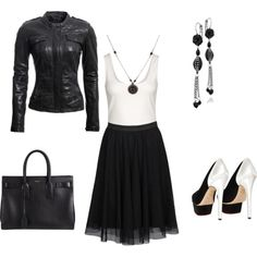 """""""Rocker chic in B+W"""" by pomme-cannelle on Polyvore"""