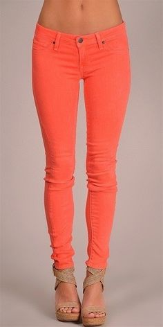 coral skinny jeans, need the heals