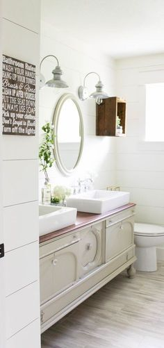 Farmhouse Style Bathroom - via Making It In the Mountains