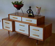 retro mid century two tone danish modern 8 drawer dresser / sideboard