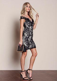 Black Floral Crochet Mesh Dress - Dresses