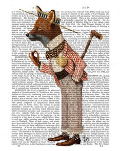 Fox in Boater Art Giclee Print Acrylic Painting by FabFunky, $15.00