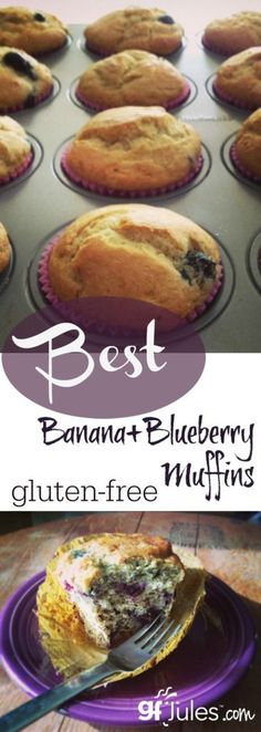 A great gluten free banana muffin is one of my favorite breakfast treats. This recipe adds yummy blueberries for the perfect gluten free, lower fat muffin!