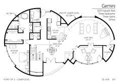 Floor Plan: DL-4510   Monolithic Dome Institute    Gemini Series dome home - 3,073 square feet - Three bedrooms - Three baths - Office  Multi-level