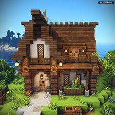 Casa Medieval Minecraft, Minecraft House Plans, Minecraft Farm, Minecraft Mansion, Easy Minecraft Houses, Minecraft House Tutorials, Minecraft Castle, Minecraft House Designs, Minecraft Decorations