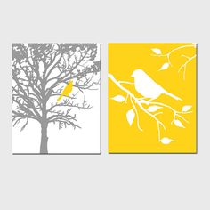 Set of Two 11x14 Prints - Birds and Trees - Perfect for Bathroom, Nursery, Kitchen, Bedroom - Gray and Yellow, Orange, Red, Aqua, and More. $48.50, via Etsy.