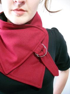 Red neckwarmer with silver buckle, $48