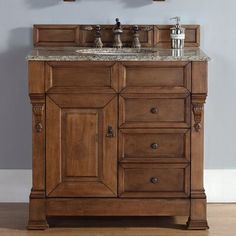 James Martin Furniture Brookfield Single Country Oak Bathroom Vanity Set with Drawers Top Finish: Galala Beige Marble Top Oak Bathroom Vanity, Vanity Cabinet, Vanity Sink, Bathroom Furniture, Small Bathroom, Bathroom Ideas, Bath Ideas, Shabby Chic Kitchen, Shabby Chic Homes