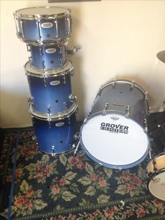 """Grover Custom drum set in """"Lindsay Blue"""" glitter sparkle Drum Sets, Blue Glitter, Drums, Music Instruments, Sparkle, Wall, Percussion, Percussion, Musical Instruments"""