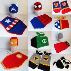 Claudia Luiz - artesanato para bebê e casamento: HERÓIS NEWBORNS Newborn Crochet, Crochet Baby, Knit Crochet, Crochet For Beginners, Crochet For Kids, Crochet Dog Clothes, Halloween Crochet, Baby Sweaters, Learn To Sew