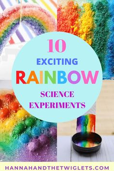 Looking to get your kids interested in science? Here are 10 inspiring and exciting rainbow science experiments to wow your little ones! #hannahandthetwiglets #scienceforkids #scienceexperiments #rainbowexperiments #STEM