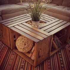 crate coffee table 10 Useful DIY Home Projects Wine Crate Coffee Table, Wood Crate Table, Wood Crate Shelves, Coffee Table Made From Crates, Apple Crate Shelves, Crate Bookshelf, Pallet Shelves, Rustic Shelves, Beginner Woodworking Projects