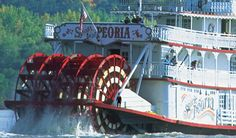 """Now this is something I understand."" -#MiniAbe. Set set sail on the historic paddlewheel boat, The Spirit of #Peoria!"