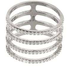 Latelita London - Four Line Geometric Fashion Ring Sterling Silver ($71) ❤ liked on Polyvore featuring jewelry, rings, knuckle ring, pave stacking rings, sterling silver rings, sparkle jewelry and stackers jewellery