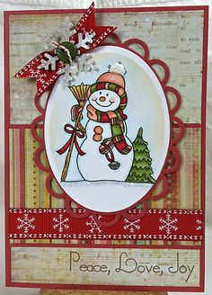 Peace, Love, Joy - delightfully cute card! #Christmas #cards #paper_crafting