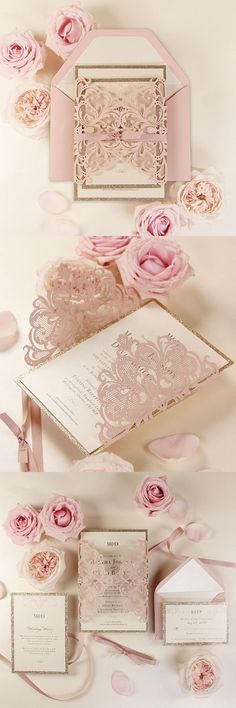 Rose Gold Opulence Luxury Laser cut Gatefold Invitation, Gold Glitter and Ribbed Ribbon and Custom Pink Envelopes with Liners