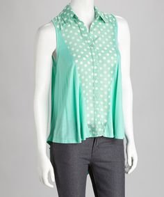 Take a look at this Green Polka Dot Sleeveless Button-Up by Rain on #zulily today! $27.99, regular 72.50