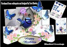 A beautiful 3D folded card that is so easy to make and can be used for many reasons, It does come with 4 labels, Happy Birthday, To Brighten Your Day, Just For You and Sent With Love, but of course you can also use your own. use as is or dress it up.  Has a beautiful blue bird, butterflies and mixed flowers, looks stunning when finished.