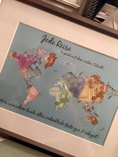 Gifts - Individual Gift Idea * World Map * Money Gift - a unique product by Still-Love on DaWanda  #gifts #individual #money #product #still #unique #world