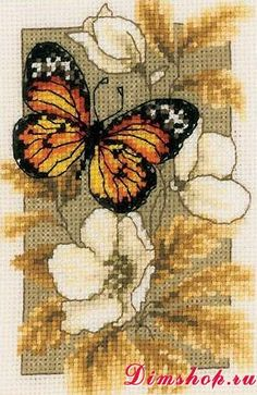 Embroidery set Vervaco PN-0144770 Orange and Black Butterfly on Flowers