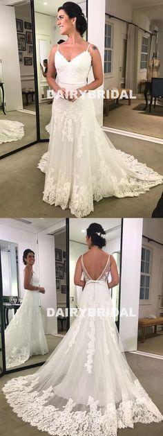 Sexy V-Back A-Line Wedding Dress, Vintage Lace Spagehtti Straps Wedding Dress, D1052