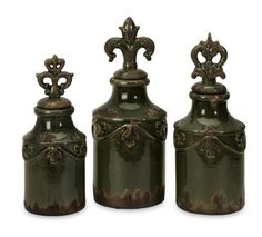 3 Decorative Bottles by Gordon Companies, Inc. $190.50. Shipping Weight: 13.00 lbs. This product may be prohibited inbound shipment to your destination.. Brand Name: Gordon Companies, Inc Mfg#: 30712155. Please refer to SKU# ATR25775317 when you inquire.. Picture may wrongfully represent. Please read title and description thoroughly.. 3 decorative bottles/finials/muted green/rustic finish/fleur-de-lis/large: 15.5''H x 6''dia./medium: 13.5''H x 5.5''dia./small: 12.5''H...