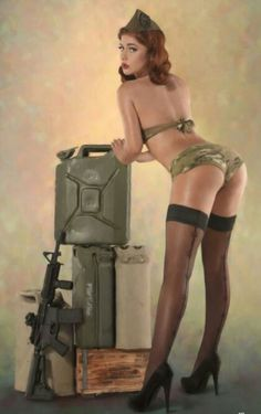 Army Girl Pin up - Salute Our Veterans by Supporting the Businesses of