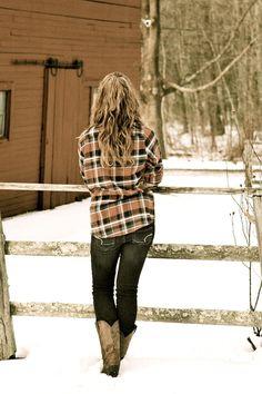 Flannel, jeans, & boots ..love it.. pretty pretty pretty :)