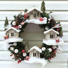 Купить Рождественский венок - белый, красный, венок, венок на дверь, рождество, Новый Год, подарок