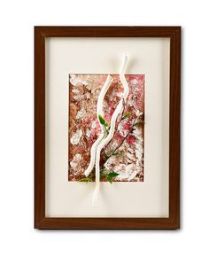 White Wands Collage Painting In Frame by Natalia Madunicka on Etsy  #art #painting #mixed #wands #wood #collage #gift #present #colourful #decoration #original