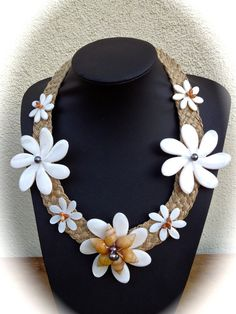 Tiare shell necklace with black pearls by ISLANDMANA on Etsy, $95