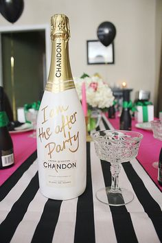 Oh Hello, Love: A Parks & Recreation Inspired Galentine's Day Brunch- Chandon limited edition  Pink, Gold, Emerald Green. Black and White Stripes.