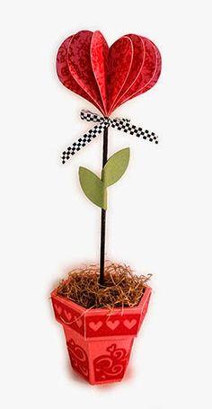 Needles 'n' Knowledge: Puffy 3d Heart Flower in Swirls Decor Pot