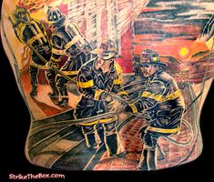 This amazing firefighter tattoo back piece took more than 50 hours and more than 1 year to complete. The inspiration for this tattoo is from a painting by the remarkable artist, & firefighter, Allan Albaitis; the painting is entitled 'Guardians II - Sunrise'