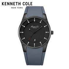 ba7a1ad0a6a Kenneth Cole Originais Mens Relógios KC10027722 Silicone Cinta Fivela de  Ouro À Prova D  Água Mais Leve Preto Marca De Luxo Relógios de Quartzo -